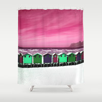 Wooden Houses on the Beach Shower Curtain by Aloke Design