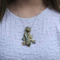 Lizard pendant Antique speckled gecko large Ceramic pendant