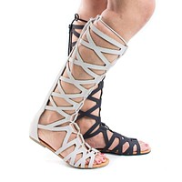 Ranger By Soda, Knee High Open Toe Gladiator Cut Out Lace Up Flat Trendy Sandals