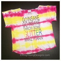 Go Insane Tie Dye Crop Top Kesha Throw by LivingYoungDesigns