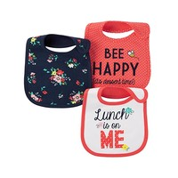 Just One You Baby Girls' 3 Pack Bib Set