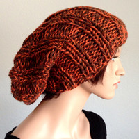 Hand Knit Unisex Beanie. Knit Slouchy Beanie. Brown and Orange Knit Beanie
