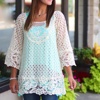 Fall Time Crochet Overlay Top {Cream}