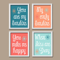 Coral Aqua You Are My Sunshine Wall Art CANVAS Peach Teal Coral Quote Flower Baby Crib NURSERY Song Print  Set of 4 Prints  Baby Decor