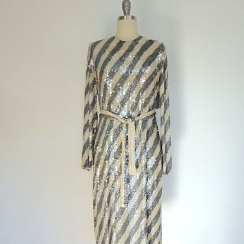 Vintage Sequin Dress / Oleg Cassini NOS with tags / Sequined Silk / Pewter Cream Stripes / 1980s Trophy Party / Shift Dress / Size Medium M