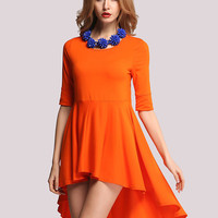 Orange Short Sleeve Ruffled Dovetail Mini Dress