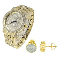 Bling 14k Gold Finish Men's Watch and Earrings Combo Set