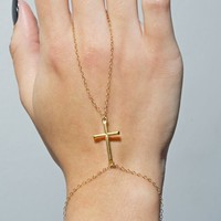 Gold Cross Hand Chain
