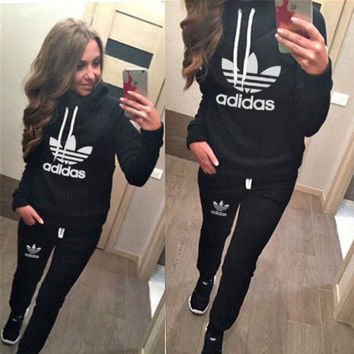 "Casual Print Hoodie Top Sweater Pants Trousers Set ""Adidas"" Two-piece Sportswear"
