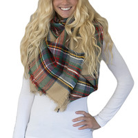 Tan Tartan Plaid Oversized Blanket Scarf