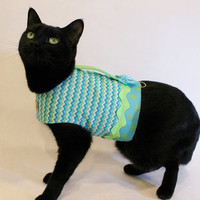 CoolCats Turquoise and Lime Chevron Cat Harness