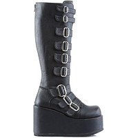 Demonia Black Buckled Knee High Vegan Platform Boots
