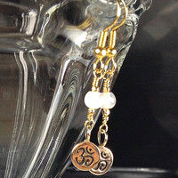 Moonstone Om Earrings with Natural Bronze Om Charm