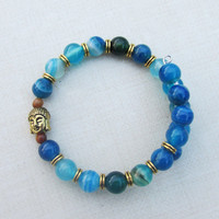 Blue Agate Buddha Bracelet, Tiger Eye Beads, Antique Goldtone Buddha, Memory Wire, Balancing, Confidence Jewelry, Speak Truth,Longevity, Zen