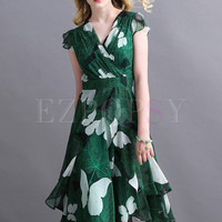 Holiday Butterfly Print High Waist A Line Midi Dress