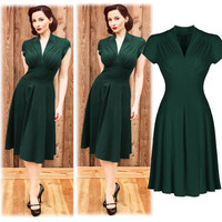 New Arrival Vintage Style Retro 1940s Shirtwaist Flared Party Tea elegant Women Dress Summer Dress Swing Skaters Size 8-18