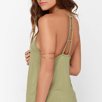Munificent Gift Olive Green Tank Top
