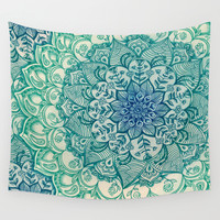 Emerald Doodle Wall Tapestry by Micklyn