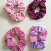 Hair Scrunchie, Lilac, Teal & Matching Floral Prints