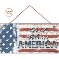 """God Bless America Sign, Weathered Patriotic Decor, Stars and Stripes, American Flag, Weatherproof, 5""""x10"""" Wall Plaque, USA, Made To Order"""