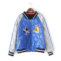 2016 Trending Fashion Mixed Color Women Baseball Stand Collar  Sweater Cardigan Coat Jacket Outerwear _ 9836