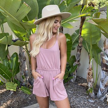 Lounge In Comfort Double Lined Jersey Romper in Rose Pink