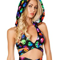 Rainbow Holographic Aliens Black Rave Wrap Top and Hoodie