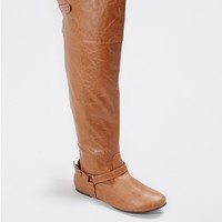 Cognac Buckled Over-the-Knee Boot