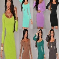 New Hot 7 colors Autumn Winter Bandage Slim Bodycon Prom Women Dresses Long Sleeves Solid Sexy Clubwear Vestidos Dress