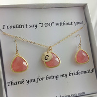 Bridesmaid Jewelry Set, Bridesmaid Jewelry, Coral, Gold, Monogram Necklace, Dangle Earrings,  Wedding Jewelry, Peach, Gold Filled, Card