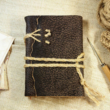 Brown Rustic Leather Journal - Vintage Style Notebook, Blank Book, Travel Journal - Leather Cover, Vintage Style Pages