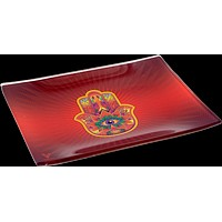 Hamsa Red Glass Tray - Shatter Resistant