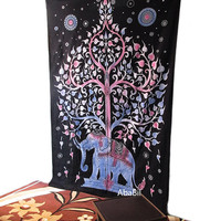 Indian Twin Cotton Elephant Tapestry Wall Hanging Indian Bedspread Hippie Bohemian Throw Ethnic Home Decorative Art