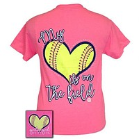 Girlie Girl My Heart is on the Field Softball Pink T-Shirt