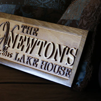 Personalized Lake House Sign Wood Plaque Custom Carved 3D Last Name Wooden Signs Last Name Décor Plaque 3D Cabin Cottage Rustic Lakehouse
