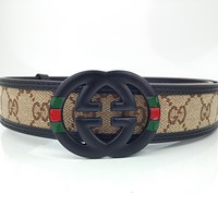 GUCCI Retro Simple Double G Interlocking Belt