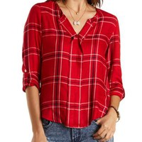 Plaid Flannel Pullover by Charlotte Russe