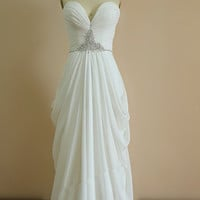 Gorgeous White Chiffon Long Prom Dress With Beadings, Chiffon Bridesmaid Dresses, Evening Dresses