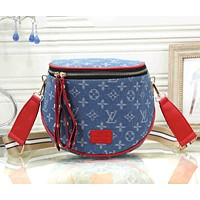 Louis Vuitton LV Fashion Women Shopping Leather Canvas Satchel Shoulder Bag Crossbody Black&Red
