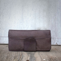 Elephant Gray Leather Wallet/ Leather Wallet / Women Wallet / Coin Purse / Leather Pouch / Leather Leather Phone Wallet