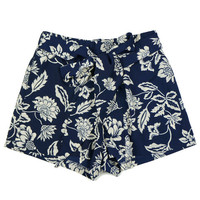 Navy Blue Printed Bow Tie Shorts