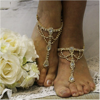 SOMETHING SPECIAL wedding barefoot sandals - gold