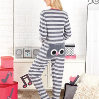Women's Animal Seat Footed Pajamas-OWL!  From Size Small to Plus Size.