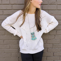 Sleeping In Cream Open Knit Scoop Neck Sweater Top With Low Back