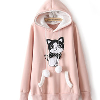 Embroidery cat collar fleece casual thickening fleece