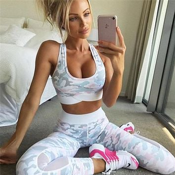 Yoga Hot Sale Autumn Women's Fashion Stylish Camouflage Print Sportswear Set [73855860751]