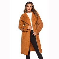Hooded Lapel Teddy Coat
