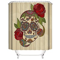 Skull 💀 Shower Curtain Romantic Rose Flower