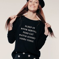 EVERY DAY LONG SLEEVE T at Wildfox Couture in  BLACK, MILK
