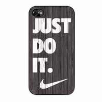 Nike Just Do It Wood Colored Darkwood Wooden iPhone 4 Case